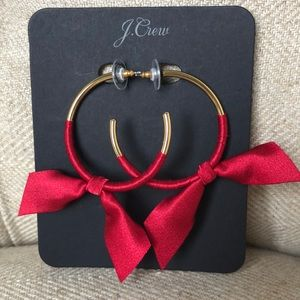 J Crew hoop earrings with red satin bows